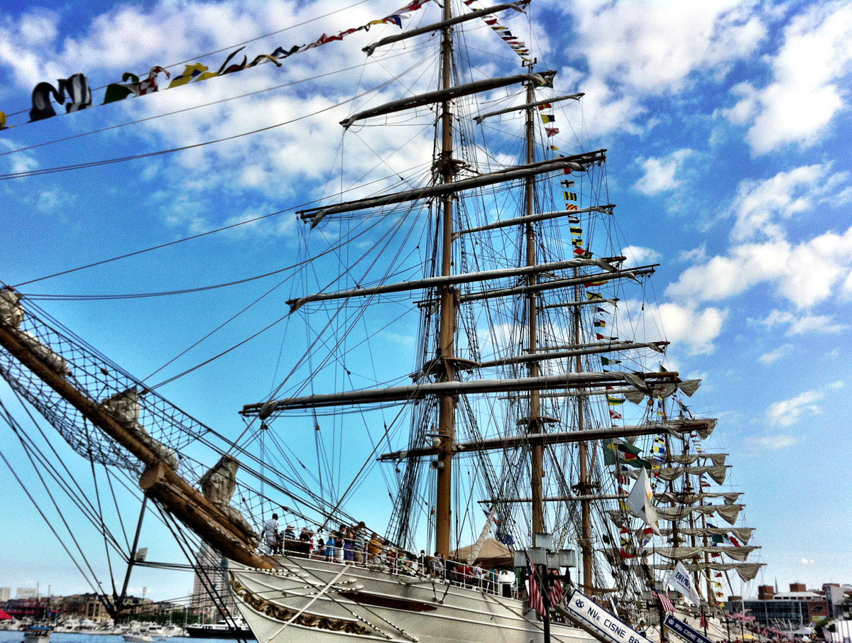 The tall ships docked along the west side of the Inner Harbor. (Nick Tann/Baltimore Sun)