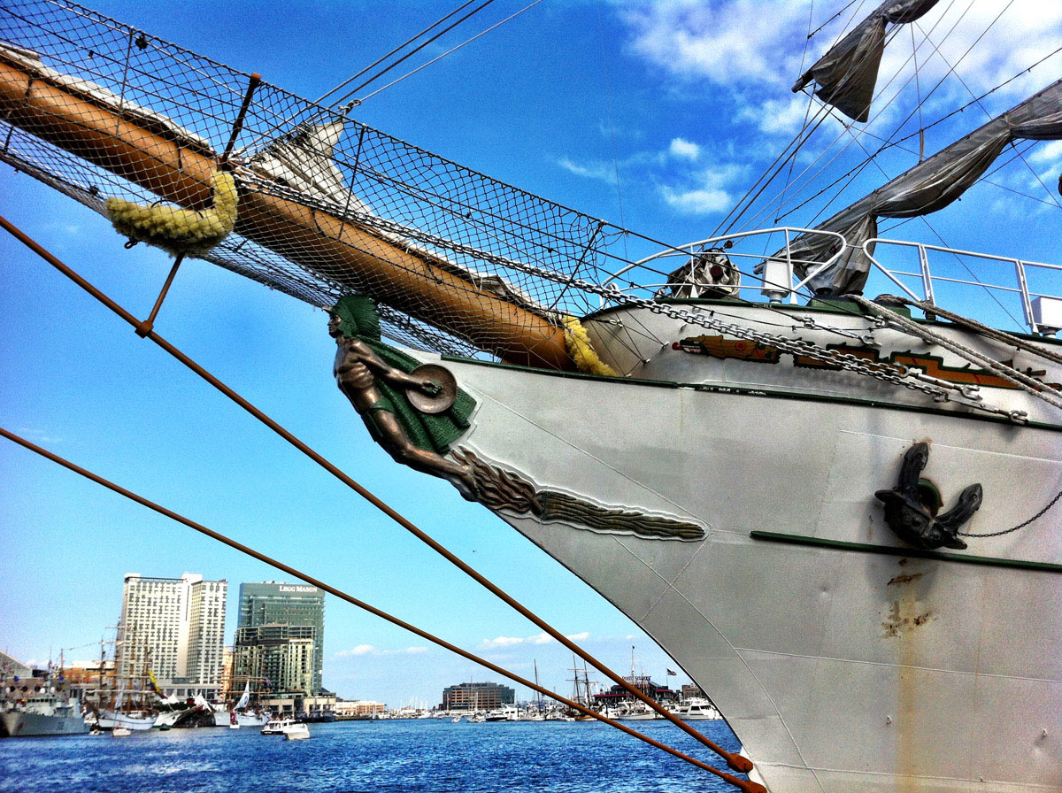 The figurehead on the bow of the tall ship ARM Cuauhtemoc docked in the west side of the Inner Harbor. (Nick Tann/Baltimore Sun)