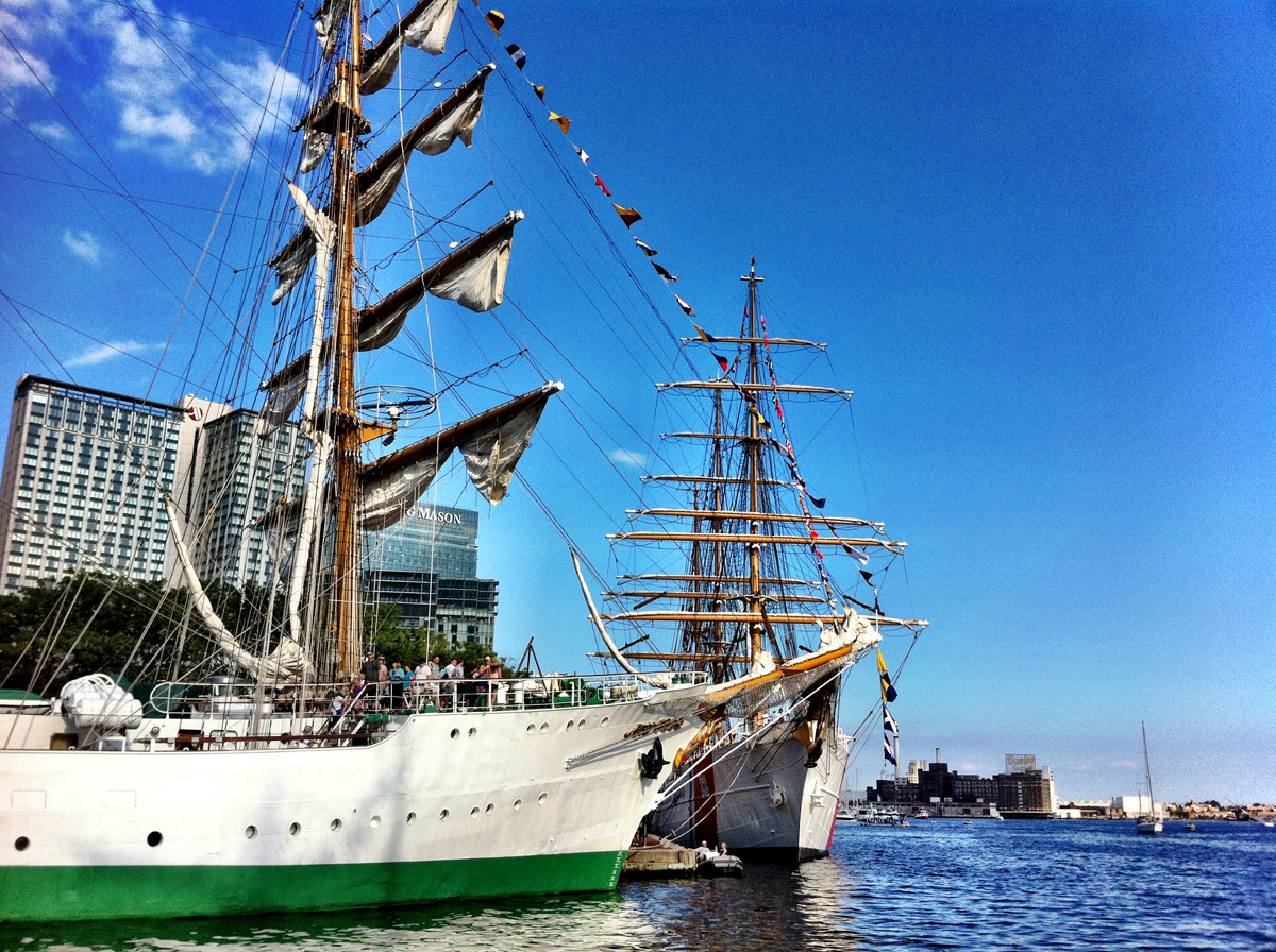 Tall ships ARC Gloria and USCGC EAGLE near Peir IV in the Inner Harbor. (Nick Tann/Baltimore Sun)
