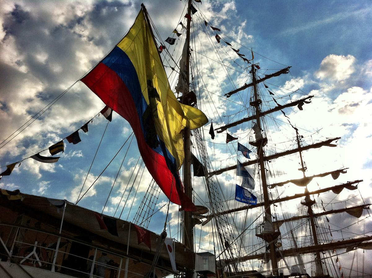 Flag flying on the BAE Guayas off Peir IV in the Inner Harbor. (Nick Tann/Baltimore Sun)