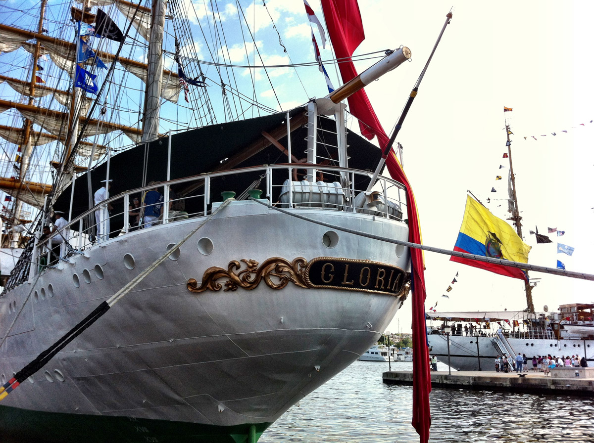 By 6p.m., most of the ships had closed the free tours except for the beautiful Gloria, the official flagship and sail-training ship of the Colombian Navy. Pictured is the stern of the ARC Gloria near Pier IV in the Inner Harbor. (Nick Tann/Baltimore Sun)