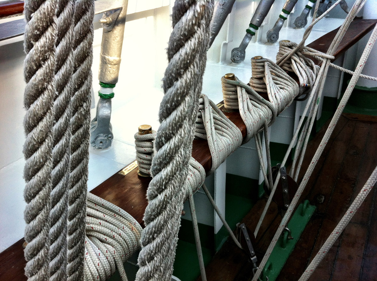 Details of ropes aboard the ARC Gloria near Pier IV in the Inner Harbor. (Nick Tann/Baltimore Sun)
