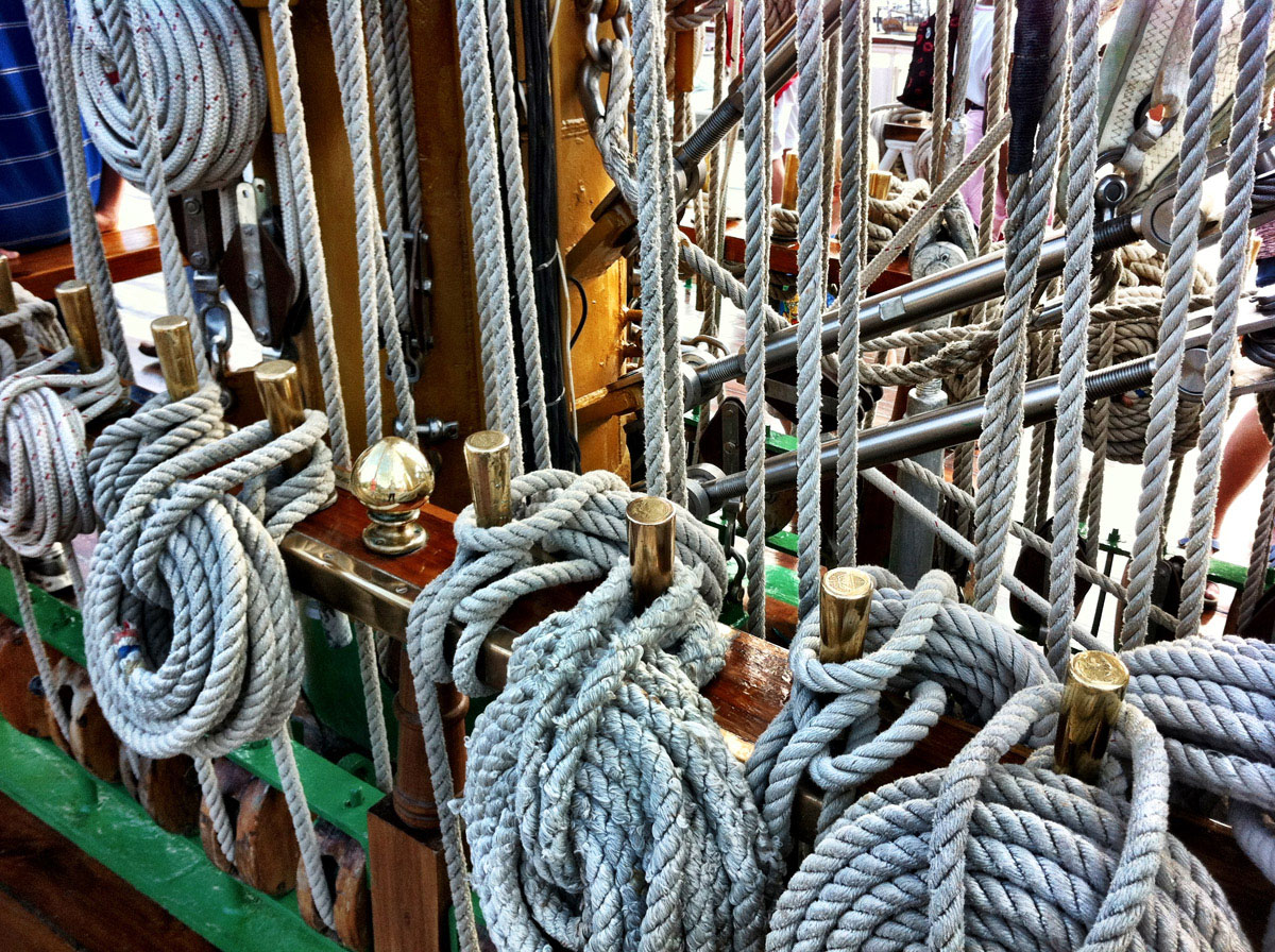 More details of ropes aboard the ARC Gloria near Pier IV in the Inner Harbor. (Nick Tann/Baltimore Sun)