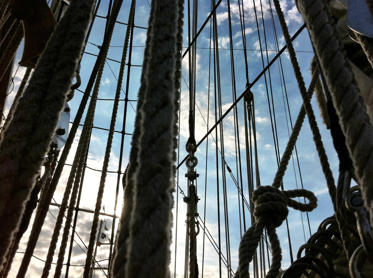 Looking up one of the masts aboard the ARC Gloria near Pier IV in the Inner Harbor. (Nick Tann/Baltimore Sun)