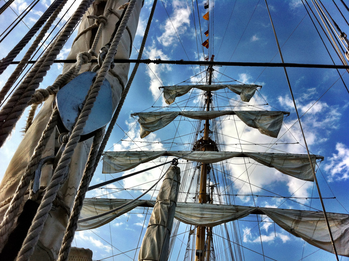 Looking up at the sails aboard the ARC Gloria near Pier IV in the Inner Harbor. (Nick Tann/Baltimore Sun)