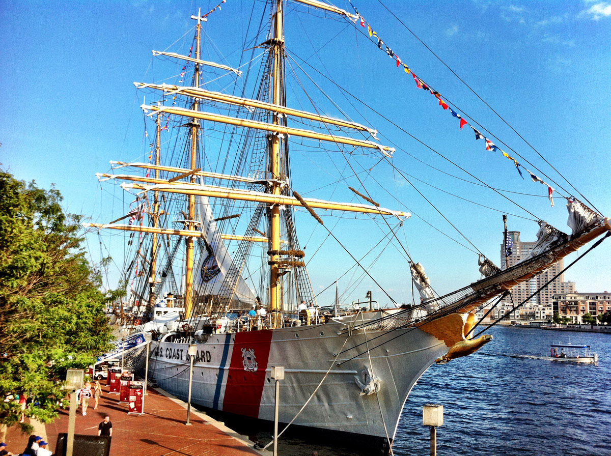 Looking over to the USCGC EAGLE while aboard the ARC Gloria near Pier IV in the Inner Harbor. (Nick Tann/Baltimore Sun)