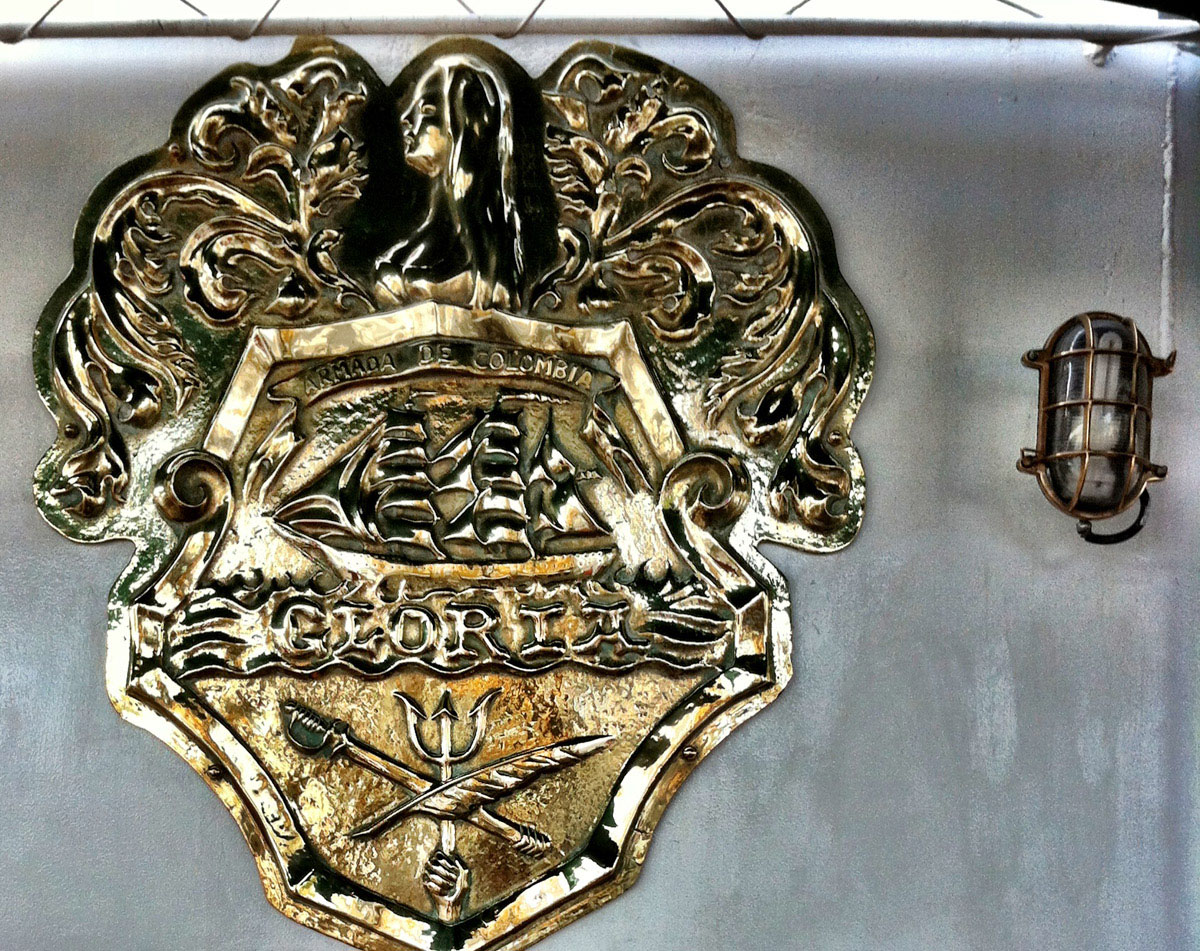 The crest aboard the ARC Gloria near Pier IV in the Inner Harbor. (Nick Tann/Baltimore Sun)