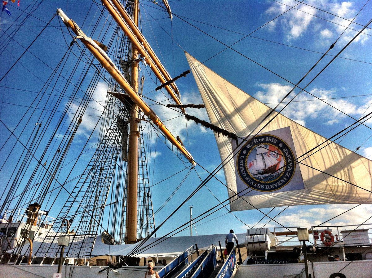 Main mast of the USCGC EAGLE near Pier IV in the Inner Harbor. (Nick Tann/Baltimore Sun)