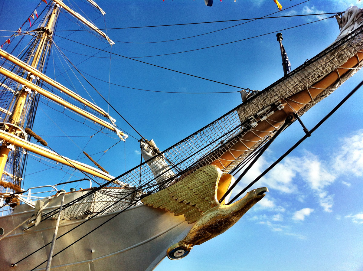 The golden eagle figurehead on the bow of the USCGC EAGLE near Pier IV in the Inner Harbor. (Nick Tann/Baltimore Sun)