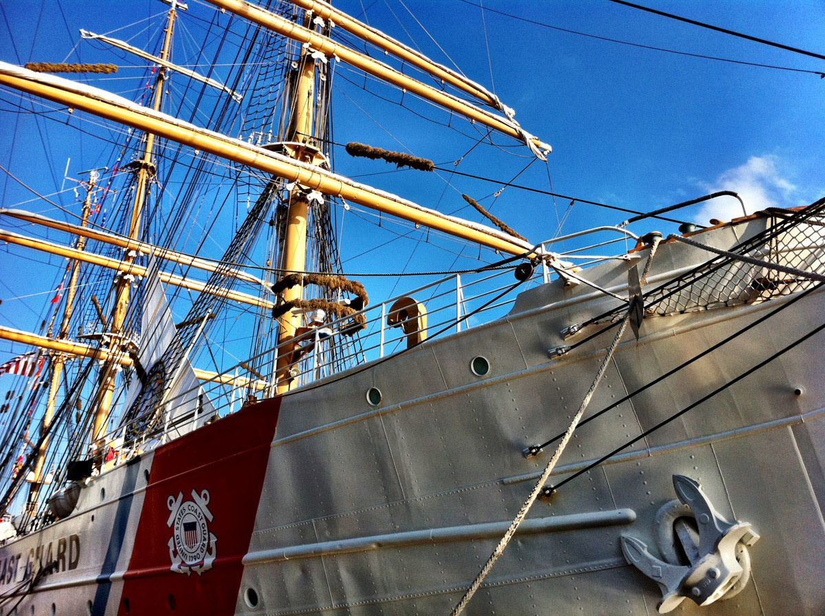 Details along the side of the USCGC EAGLE near Pier IV in the Inner Harbor. (Nick Tann/Baltimore Sun)