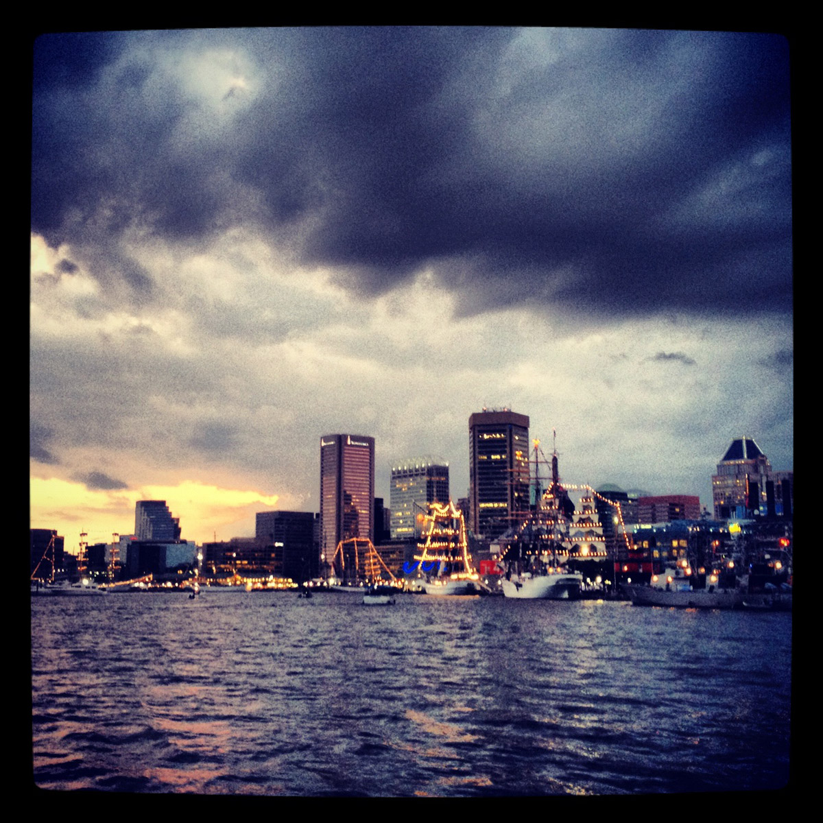 View from across the Inner Harbor courtesy of ‏@ssdance, Instagram and an iPhone 4S. (Scott Dance/Baltimore Sun)
