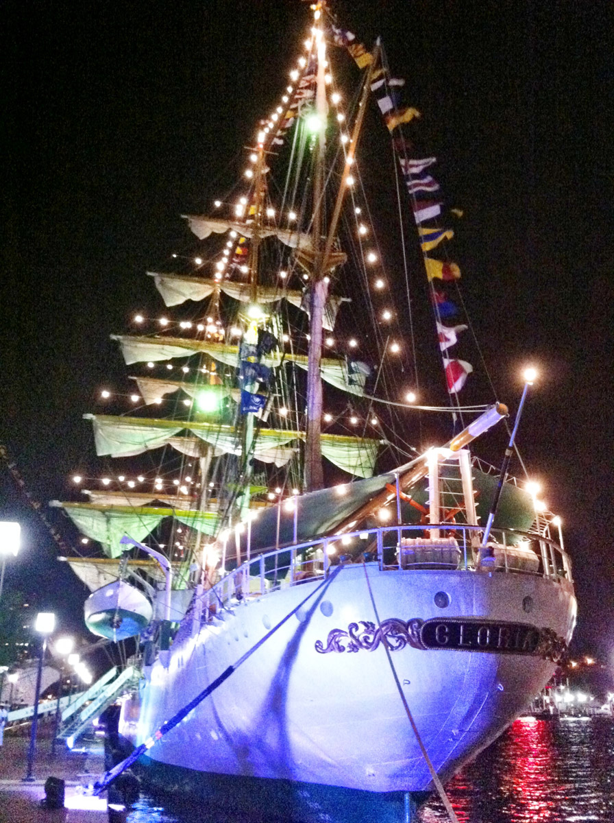 The full back end of the lit up ARC Gloria near Pier IV in the Inner Harbor. (Nick Tann/Baltimore Sun)