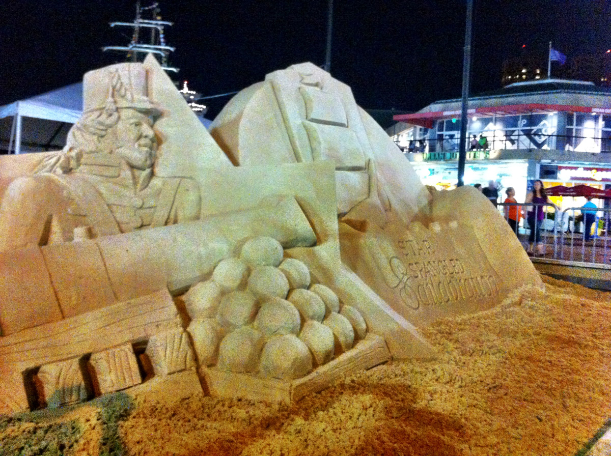 Details from a sand competition entry on the Inner Harbor. (Nick Tann/Baltimore Sun)