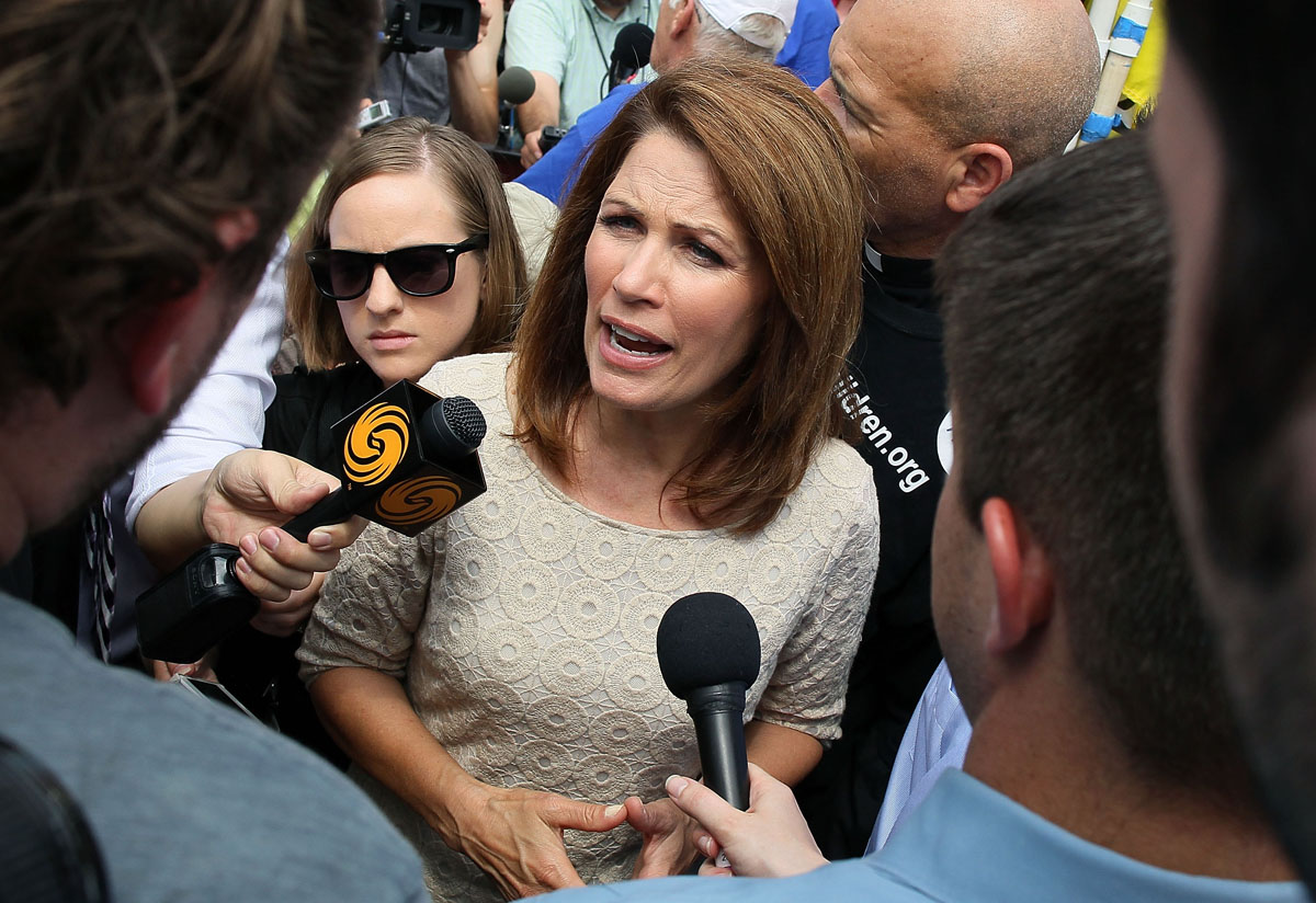 June 28, 2012: Rep. Michele Bachmann speaks after the U.S. Supreme Court upheld President Obama's health care law, on June 28, 2012 in Washington, DC. Today the high court upheld the whole healthcare law of the Obama Administration. (Mark Wilson/Getty Images)