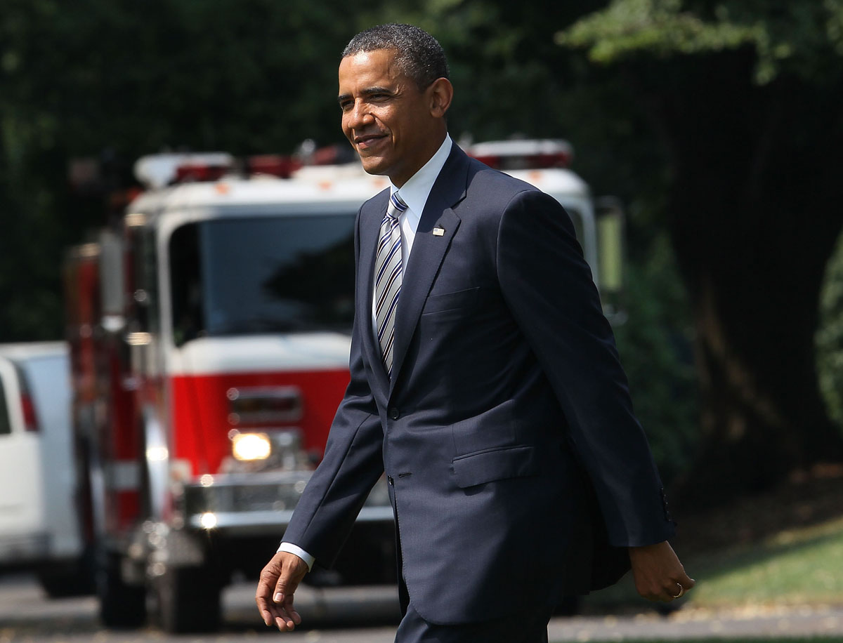 JUNE 29: U.S. President Barack Obama walks toward Marine One to depart from the White House, on June 29, 2012 in Washington, DC. President Obama is traveling to Colorado Springs, Colorado, to tour damage caused by the major wildfire. (Mark Wilson/Getty Images)
