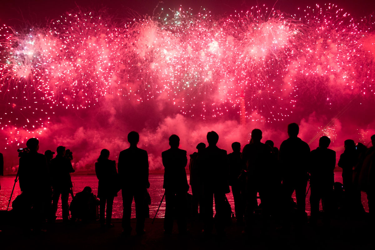 People watch a fireworks display to mark 100 years since the birth of North Korea's founder Kim Il-Sung in Pyongyang on April 15, 2012. (Ed Jones/Getty Images)