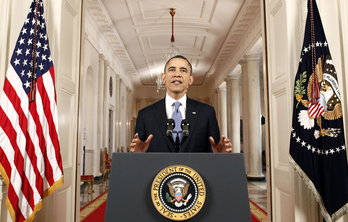 "June 28, 2012: US President Barack Obama speaks in the East Room of the White House on June 28, 2012 in Washington, DC. Obama addresed the decision by the US Supreme Court to uphold health care reforms. Obama hailed the decision by the Court to uphold his health care reforms as a ""victory"" for people across America and urged opponents to swing behind the law. ""Whatever the politics, today's decision was a victory for people all over this country whose lives are more secure because of this law and the Supreme Court's decision to uphold it,"" Obama said. (Luke Sharrett/AFP/Getty Images)"