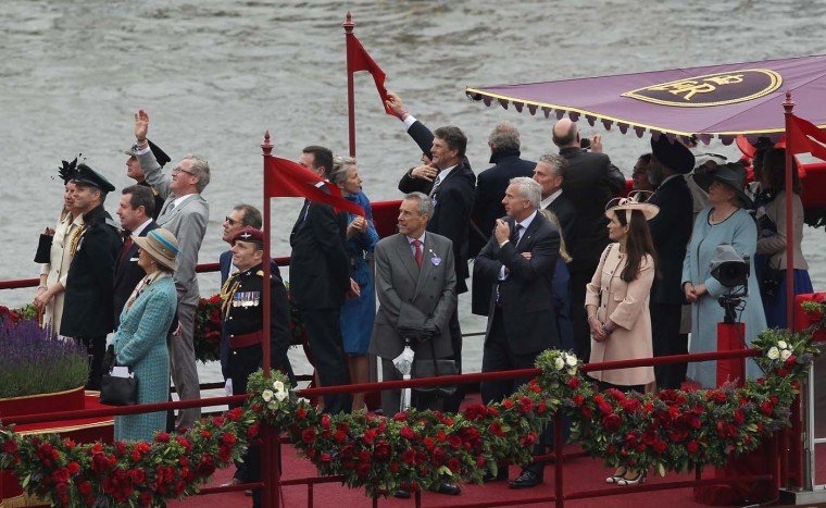 Members and guests of the royal family travel on The Spirit of Chartwell along the Thames during the River Pageant of the Diamond Jubilee on June 3, 2012 in London, England. (Sean Gallup/Getty Images)