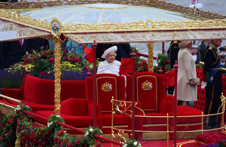 Queen Elizabeth II travels in the royal barge 'The Spirit of Chartwell' during the Diamond Jubilee River Thames pageant on June 3, 2012 in London, England. (Tom Shaw/Getty Images)