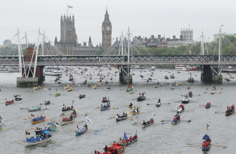 Rowboats participate in the River Pageant of the Diamond Jubilee on June 3, 2012 in London, England. (Sean Gallup/Getty Images)