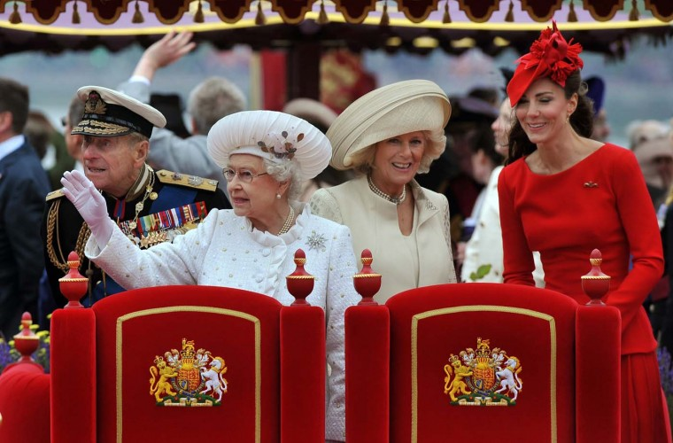 Prince Philip, The Duke of Edinburgh, Queen Elizabeth II, Camilla, Duchess of Cornwall, and Catherine, Duchess of Cambridge onboard the Spirit of Chartwell during the Diamond Jubilee Pageant on the River Thames during the Diamond Jubilee Thames River Pageant on June 3, 2012 in London, England. (John Stillwell/WPA Pool/Getty Images)