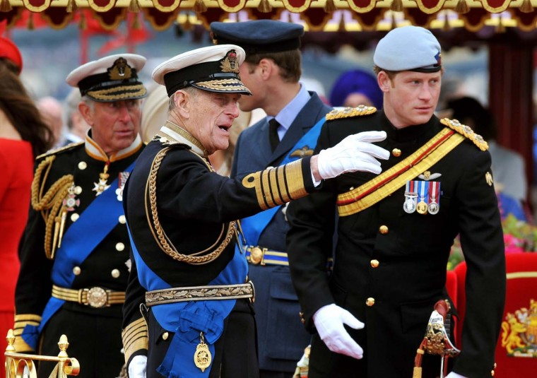 Prince Charles, Prince of Wales, Prince Philip, Duke of Edinburgh, Prince William, Duke of Cambridge and Prince Harry onboard the Spirit of Chartwell during the Diamond Jubilee Pageant on the River Thames during the Diamond Jubilee Thames River Pageant on June 3, 2012 in London, England. (John Stillwell/WPA Pool/Getty Images)