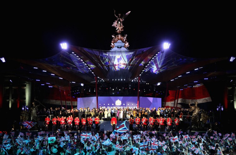A general view of atmosphere on stage during The Prince of Wales speech at the Diamond Jubilee concert at Buckingham Palace on June 4, 2012 in London, England. (Dan Kitwood/Getty Images)