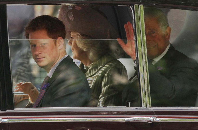 Prince Harry, Camilla, Duchess of Cornwall and Prince Charles, Prince of Wales, drive to St. Paul's Cathedral for a thanksgiving service during the Diamond Jubilee on June 5, 2012 in London, England. (Sean Gallup/Getty Images)