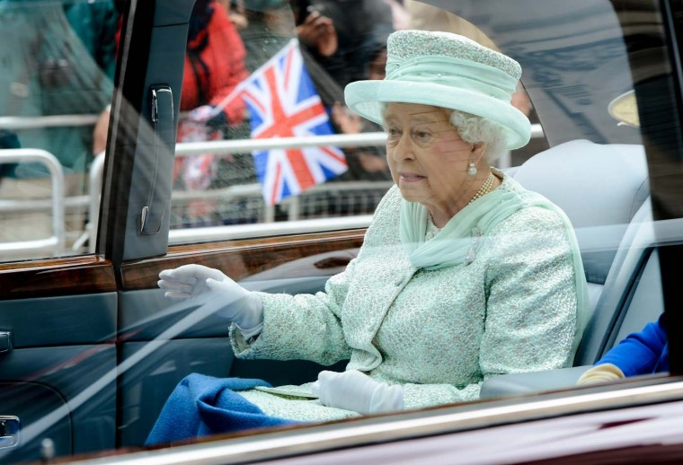 Queen Elizabeth II departs from the Diamond Jubilee Service of Thanksgiving at St. Paul's Cathedral on June 5, 2012 in London, England. (Ian Gavan/WPA Pool /Getty Images)
