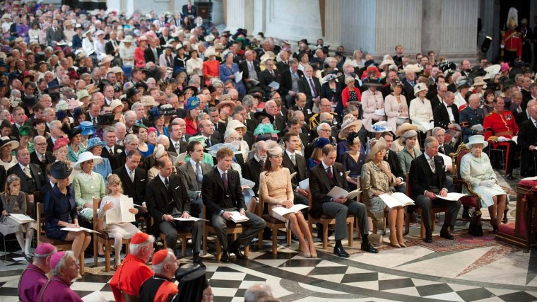 Queen Elizabeth II during a Thanksgiving service to mark the Queen's Diamond Jubilee at St. Paul's cathedral on June 5, 2012 in London, England. (Murray Sanders/WPA Pool/Getty Images)