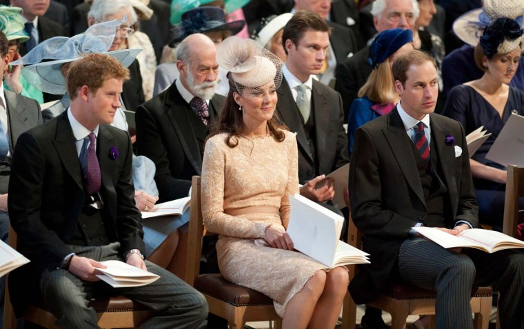 Prince Harry, Catherine, Duchess of Cambridge and Prince William, Duke of Cambridge during a Thanksgiving service to mark the Queen's Diamond Jubilee at St. Paul's cathedral on June 5, 2012 in London, England. (Murray Sanders/WPA Pool/Getty Images)