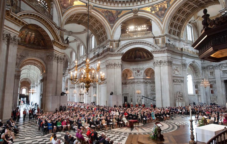 A general view of the Thanksgiving service to mark Queen Elizabeth II's Diamond Jubilee at St. Paul's cathedral on June 5, 2012 in London, England. (Murray Sanders/WPA Pool/Getty Images)