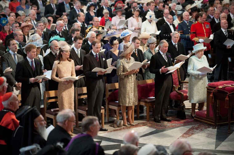 Prince Harry, Catherine, Duchess of Cambridge, Prince William, Duke of Cambridge, Camilla, Duchess of Cornwall, Prince Charles, Prince of Wales and Queen Elizabeth II during a Thanksgiving service to mark the Queen's Diamond Jubilee at St. Paul's cathedral on June 5, 2012 in London, England. (Murray Sanders/WPA Pool/Getty Images)