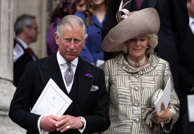 Prince Charles, Prince of Wales, and Camilla, Duchess of Cornwall leave a service at St. Paul's Cathedral on June 5, 2012 in London, England. (Matt Cardy/Getty Images)