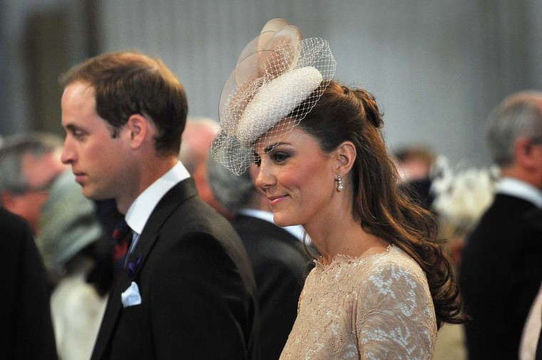 Prince William, Duke of Cambridge and Catherine, Duchess of Cambridge during the Thanksgiving service to mark the Queen's Diamond Jubilee at St. Paul's cathedral on June 5, 2012 in London, England. (Tim Ireland/WPA Pool/Getty Images)