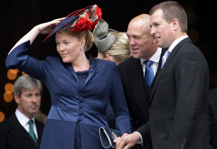 Mike Tindall shares a joke with Peter Phillips and Autumn Phillips as they leave a Thanksgiving service at St. Paul's Cathedral on June 5, 2012 in London, England. (Matt Cardy/Getty Images)