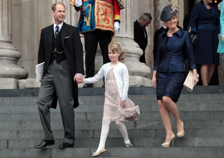 Prince Edward, Earl of Wessex, Sophie Countess of Wessex and Lady Louise Windsor leave a Thanksgiving service at St. Paul's Cathedral on June 5, 2012 in London, England. (Matt Cardy/Getty Images)