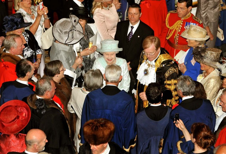 Queen Elizabeth II and David Wooton, the Lord Mayor of London, during a reception at Mansion House in the City of London hosted by the Lord Mayor to mark the Queen's Diamond Jubilee on June 5, 2012 in London, England. (John Stillwell/WPA Pool/Getty Images)