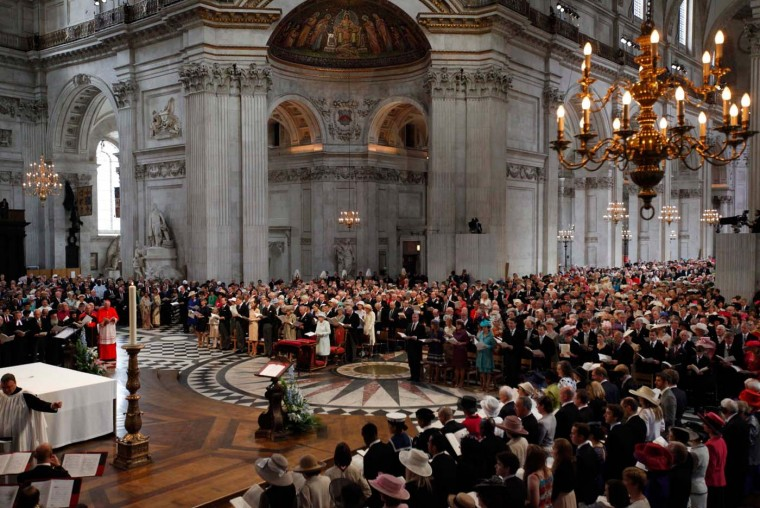 A general view of a service to mark Queen Elizabeth II's Diamond Jubilee at St. Paul's cathedral on June 5, 2012 in London, England. (Suzanne Plunkett/WPA Pool/Getty Images)