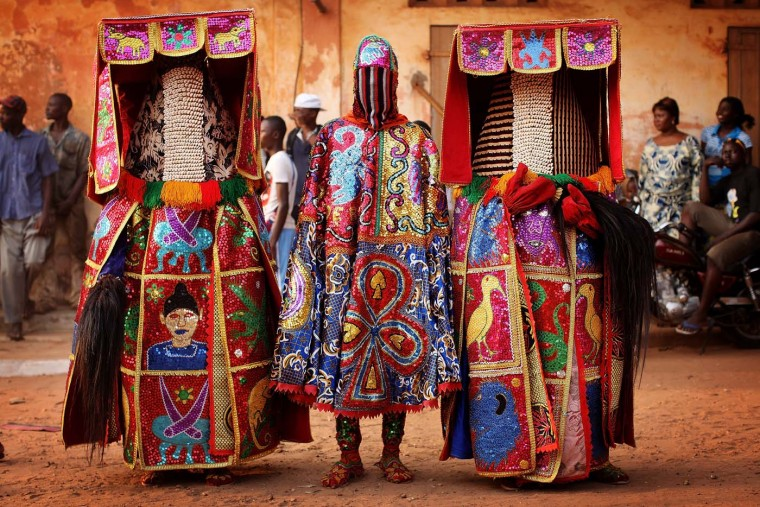 OUIDAH, BENIN - JANUARY 11: Nigerian Yaruba Voodoo Spirits perform during a Voodoo ceremony on January 11, 2012 in Ouidah, Benin. Ouidah is Benin's Voodoo heartland, and thought to be the spiritual birthplace of Voodoo or Vodun as it known in Benin. (Dan Kitwood/Getty Images)