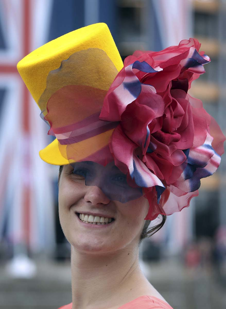 Racegoer Pamela Graham poses for photographers at Royal Ascot on in Ascot, England. (Peter Macdiarmid/Getty Images)