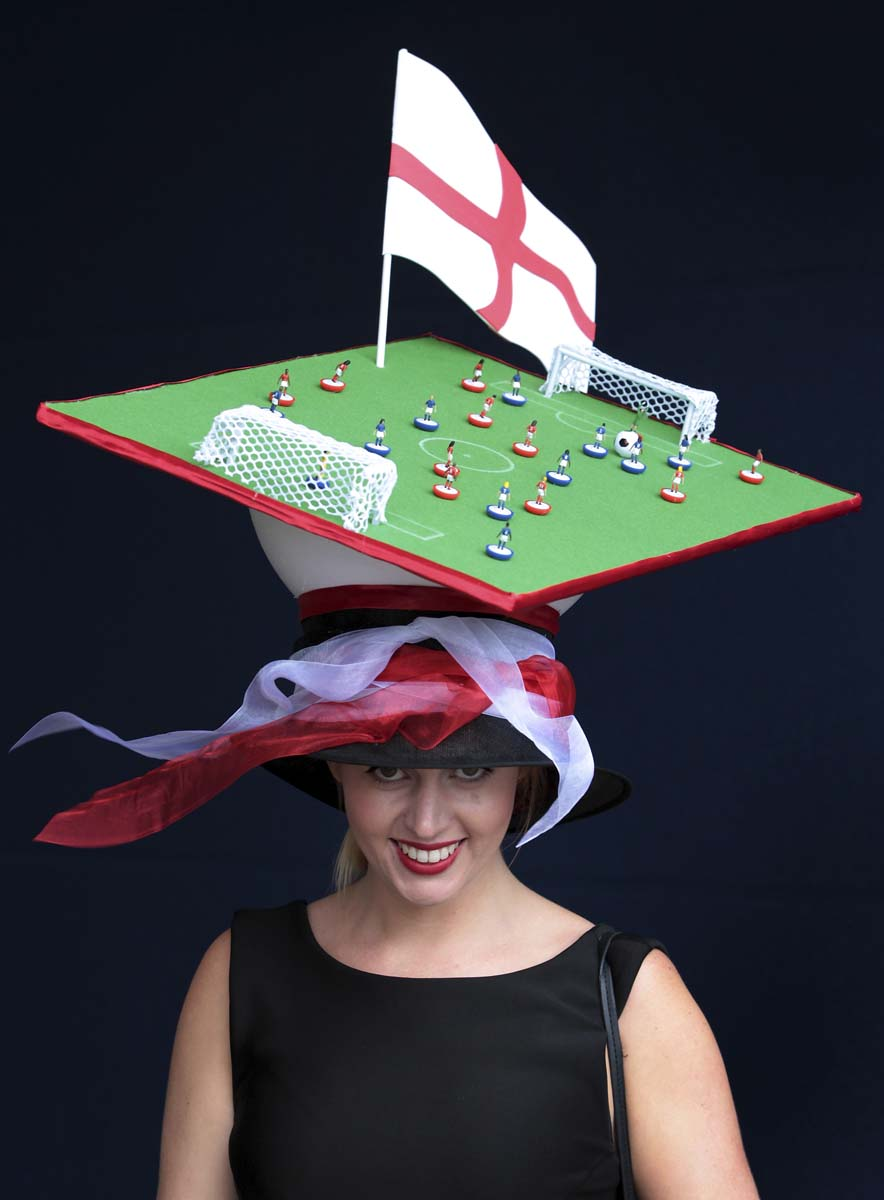 Racegoer Melissa Shedon wears a football themed hat at Royal Ascot on Ladies Day in Ascot, England. Ladies Day is traditionally the fashion highlight of the five day race meeting. (Peter Macdiarmid/Getty Images)