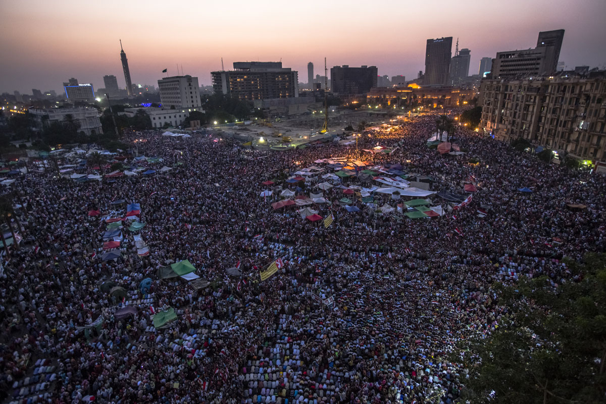 June 24, 2012: Egyptians celebrate the election of their new president Mohamed Morsi in Tahrir Square in Cairo, Egypt. Official election results today confirmed that Mohamed Morsi is to be the next president of Egypt. Morsi received over 13 million or 51.7% of the votes, while his main rival, former Prime Minister Ahmed Shafiq, received 48.27 percent. Daniel Berehulak/Getty Images)