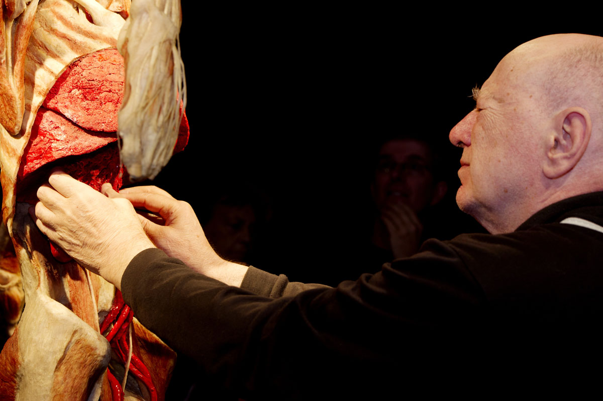 "April 23, 2012: People with visual disabilities touch bodies during the ""Body Worlds"" exhibition in Amsterdam. The exhibition offers an exceptional possibility to touch plastinated bodies and organs for people with visual disabilities. (Freek van Asperen/AFP/Getty Images)"