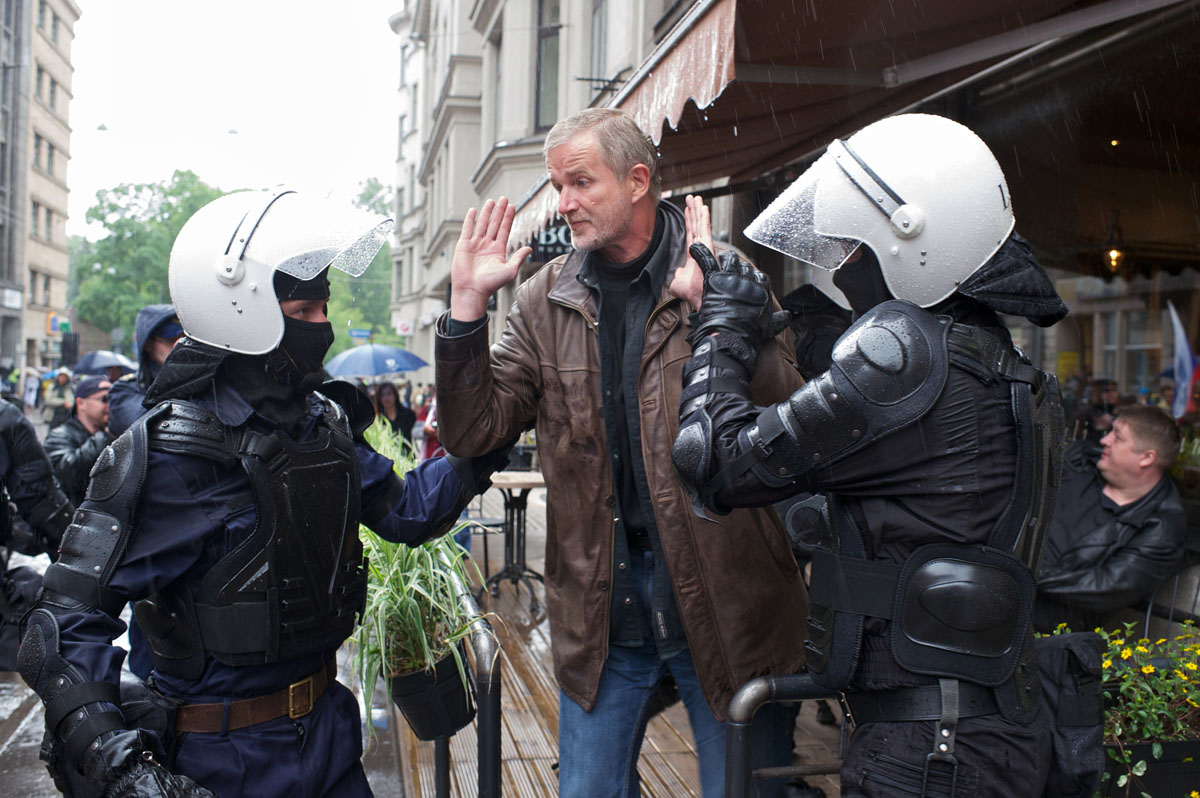 Riga: A man is arrested after throwing eggs at participants in the Baltic Gay Pride parade on June 2, 2012. The annual event is meant to promote gay rights in this ex-Soviet state, now a member of the European Union, where publicly expressed negative views of homosexuality are common. (Ilmars Znotins/AFP/Getty Images)
