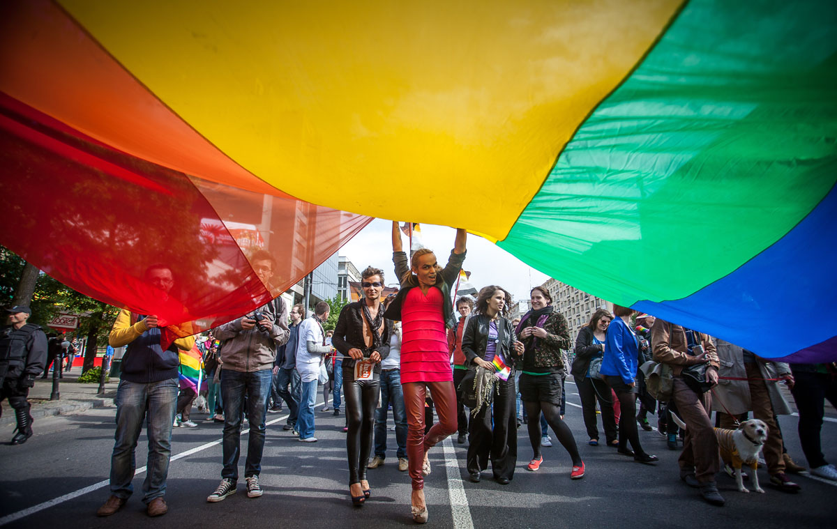 Warsaw: People hold a giant rainbow flag as they take part in a gay pride parade on June 2, 2012. (Wojtek Radwanski/AFP/Getty Images)