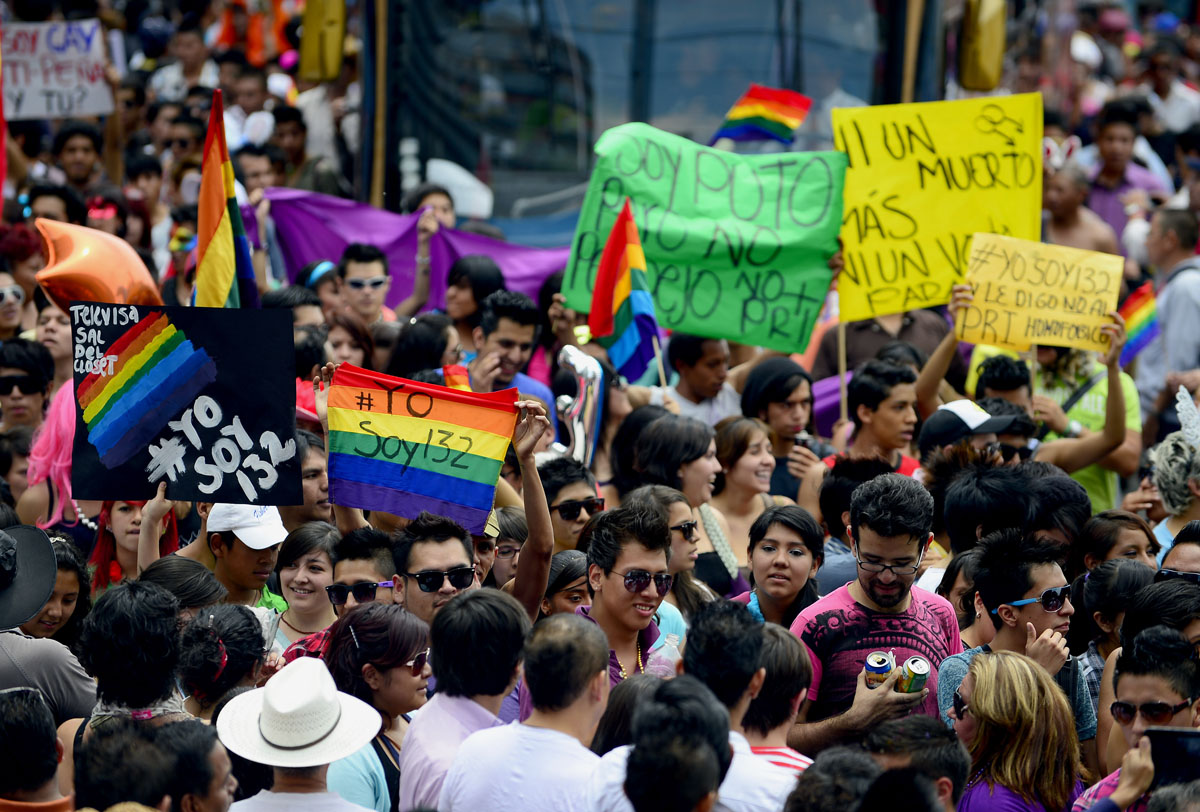 Mexico City: People take part in the Gay Pride Parade on June 2, 2012. (Alfredo Estrella/AFP/Getty Images)