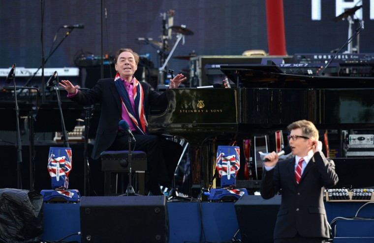 British composer Andrew Lloyd Webber plays the piano on stage during the Queen's Diamond Jubilee Concert at Buckingham Palace in London on June 4, 2012. (Leon Neal/AFP/Getty Images)