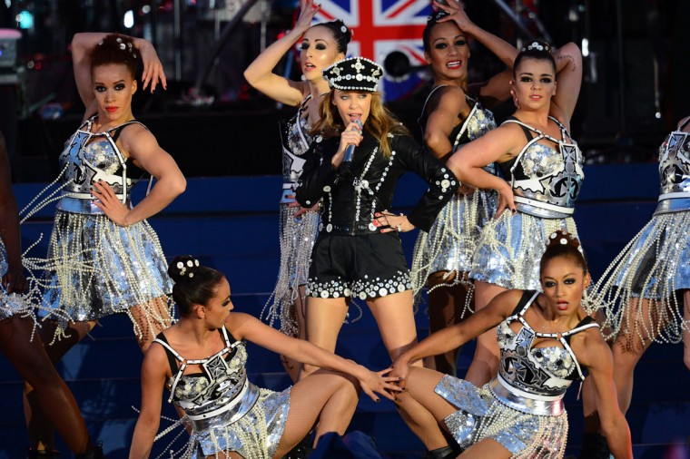 Australian singer Kylie Minogue performs during the Queen's Diamond Jubilee Concert at Buckingham Palace in London on June 4, 2012. (Leon Neal/AFP/Getty Images