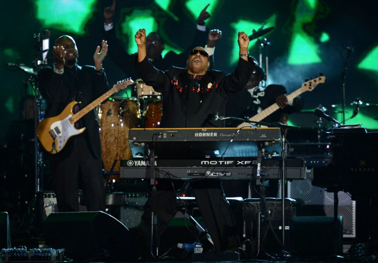 US singer-songwriter Stevie Wonder performs during the Queen's Diamond Jubilee Concert at Buckingham Palace in London on June 4, 2012. (Leon Neal/AFP/Getty Images)